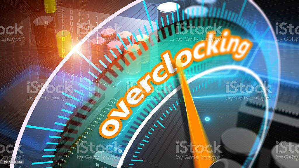 Overclocking processor 3D illustration stock photo