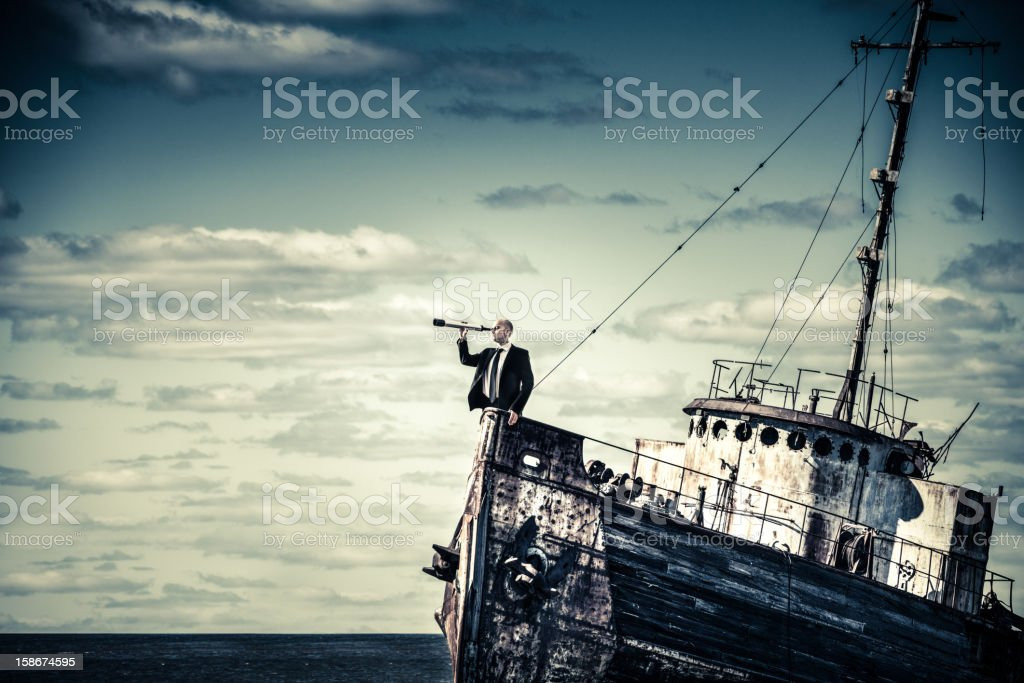 Overcome the economic crisis stock photo