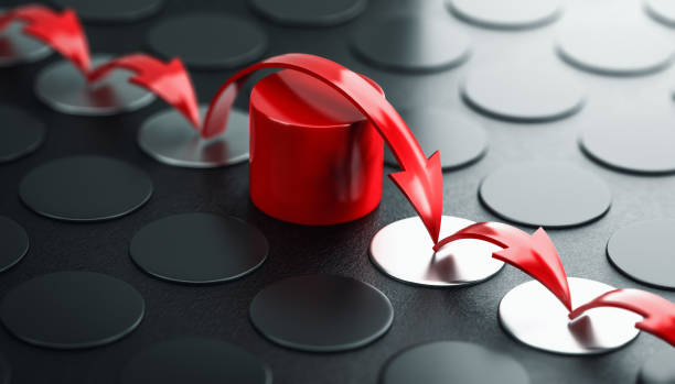 Overcoming barriers and moving forward despite obstacles. Success concept. Arrows jumping over a red obstacle, black background. Concept of overcoming barriers and moving forward despite difficulties. 3D illustration. despite stock pictures, royalty-free photos & images