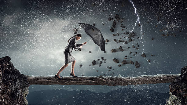 Overcoming challenges and crisis . Mixed media stock photo