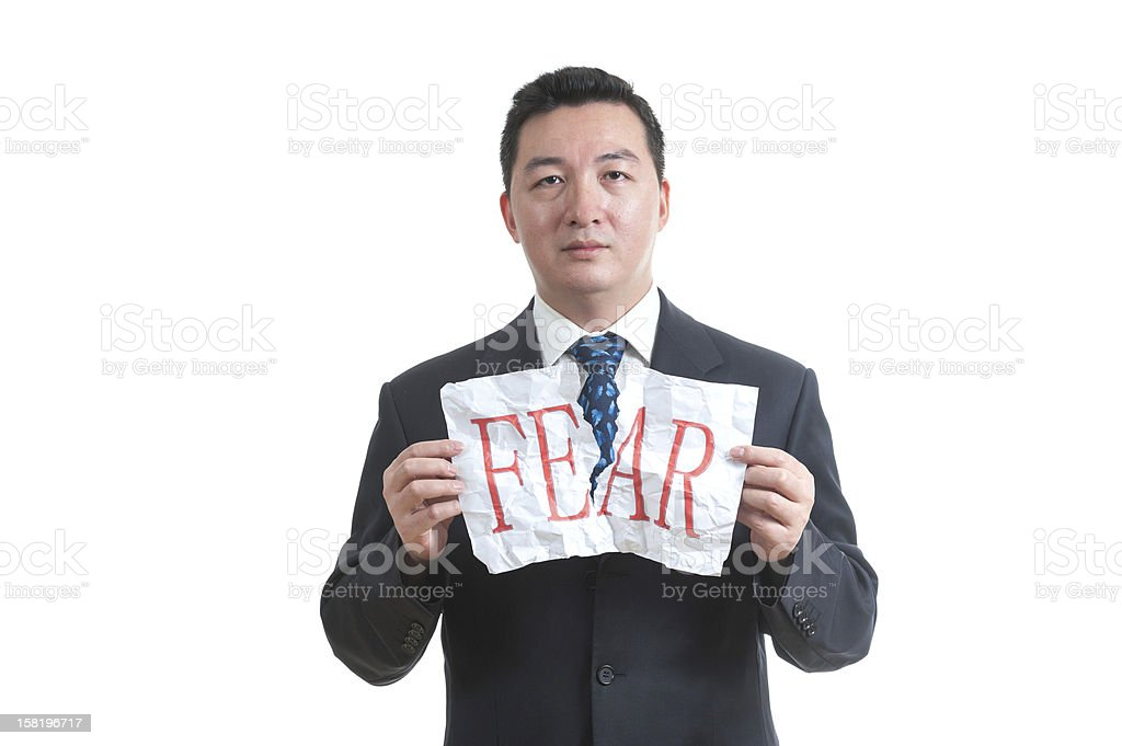 Overcoming fear concept stock photo