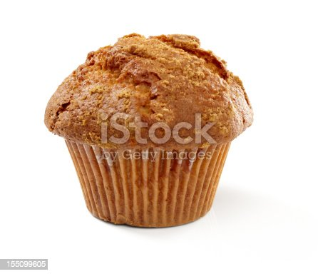 Cinnamon sugar muffin isolated on white background, larger files include clipping path.