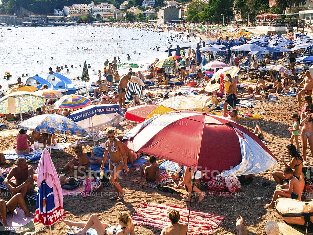 Overcrowded Sandy Beach Tanning People Budva Montenegro Europe Royalty Free Stock