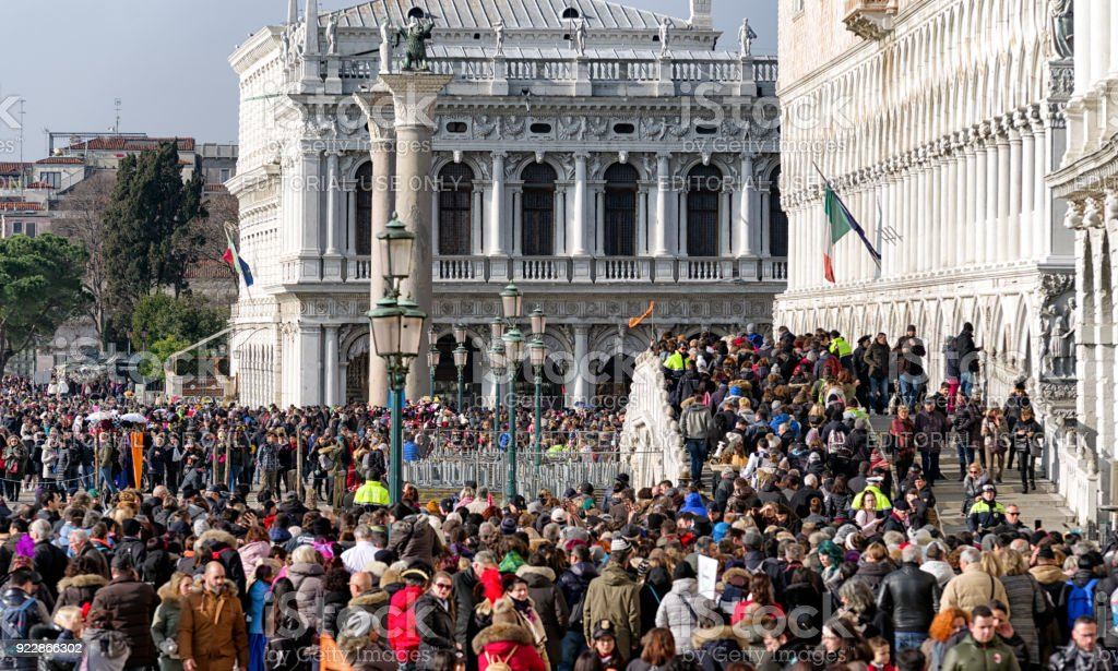 Overcrowded Venice during carnival 2018, Italy stock photo