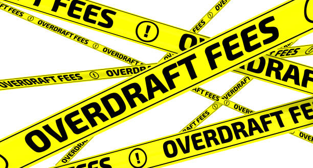 "Overdraft fees. Yellow warning tapes Yellow warning tapes with inscription ""OVERDRAFT FEES"" on the white surface. Isolated. 3D Illustration fee stock pictures, royalty-free photos & images"