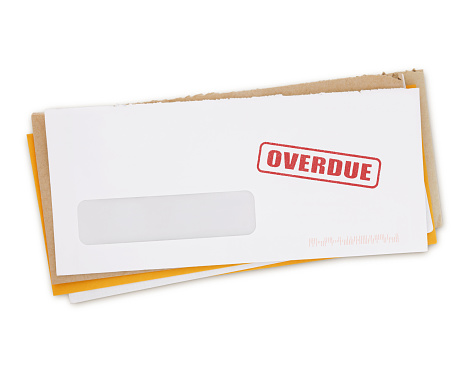Envelopes - Overdue Bills isolated on white (excluding the shadow)