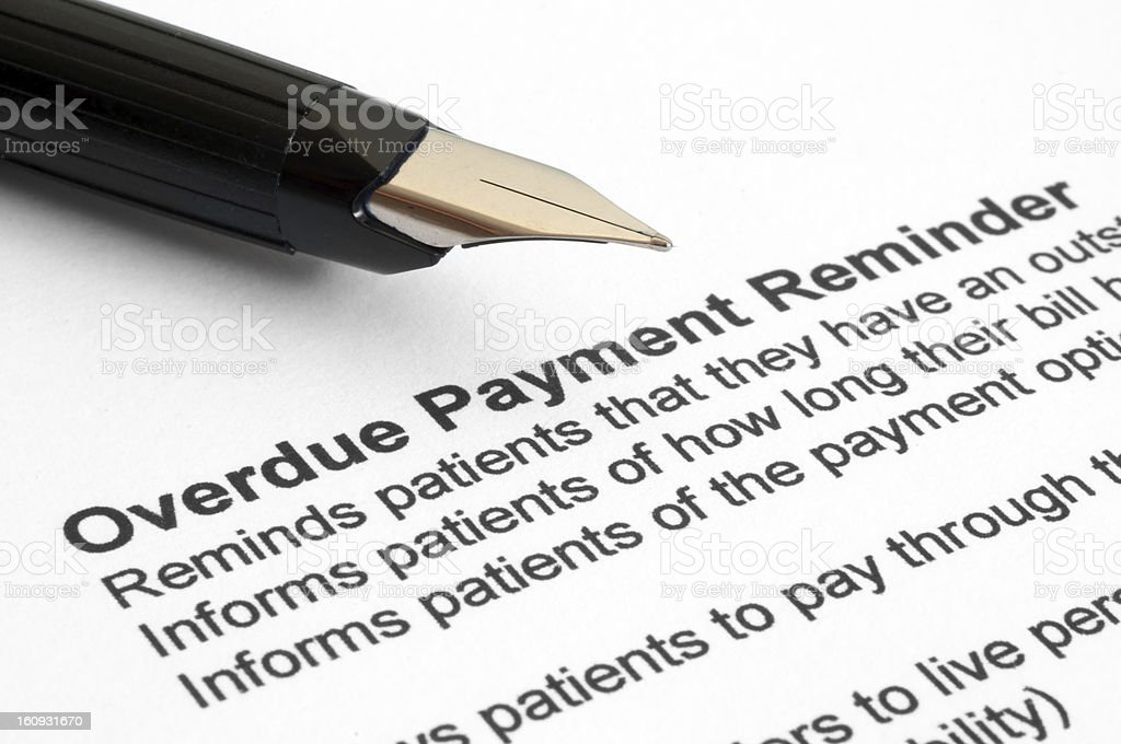 Overdue Payment reminder stock photo