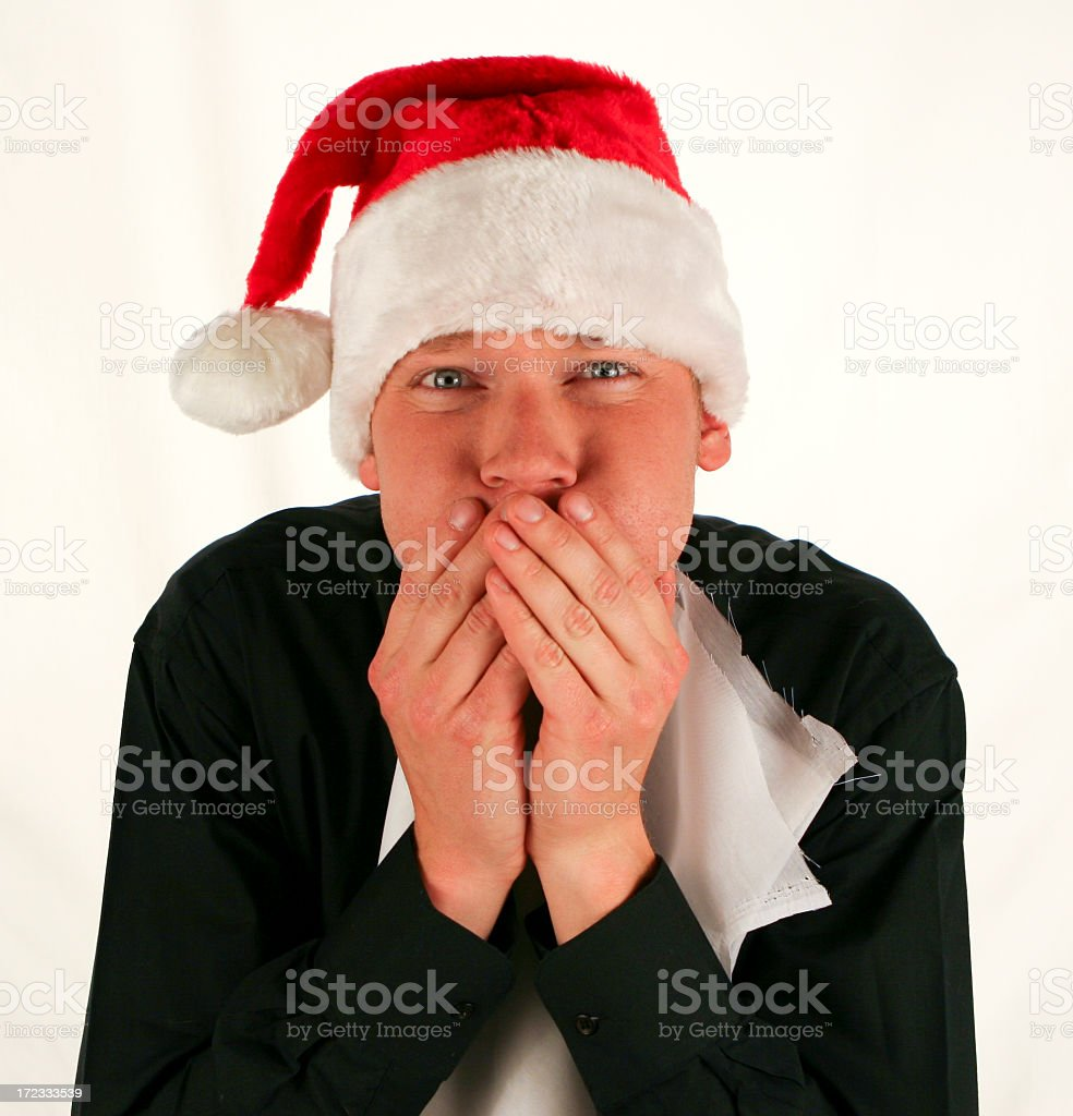 Overeating at a holiday feast royalty-free stock photo