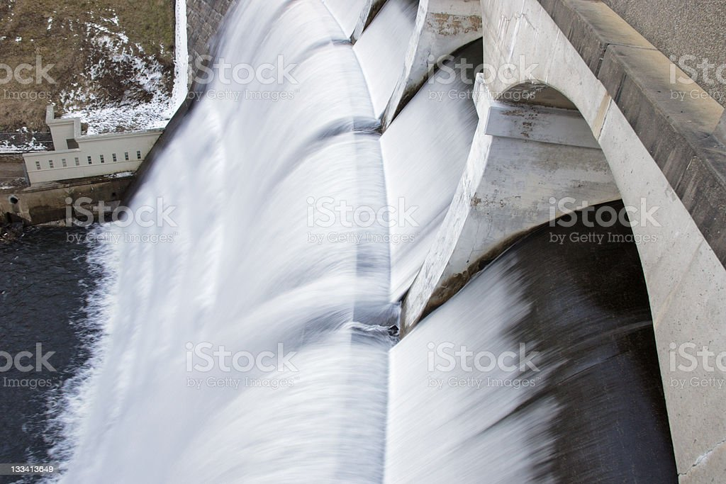 Overflowing Dam royalty-free stock photo