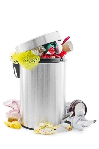 Overflowing Stainless Steel Trash Can Stock Photo - Download Image Now