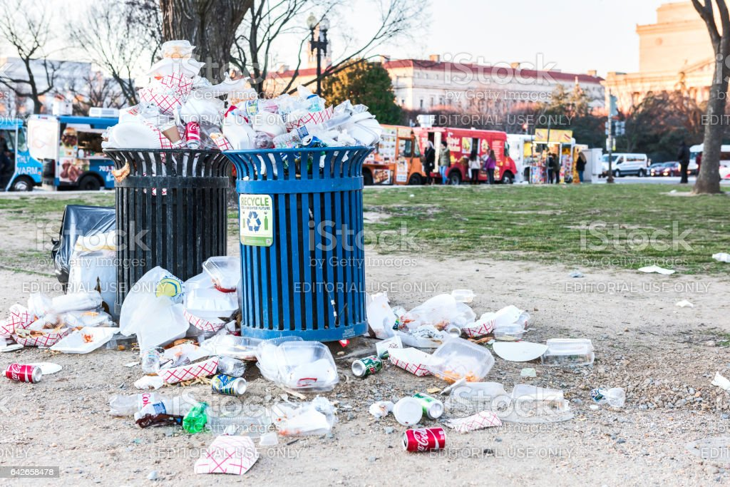 Overflowing trash bins in National Mall stock photo
