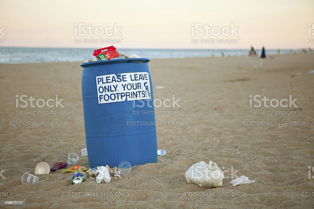 Overflowing Trashcan in Ocean City, Maryland stock photo
