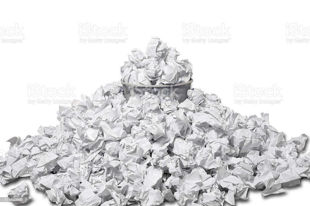 Overflowing Wastepaper Basket stock photo