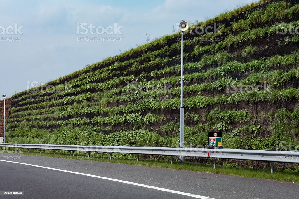 Overgrown Freeway Noise Barrier Stock Photo - Download Image