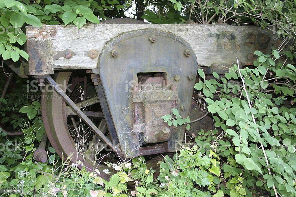 Overgrown old railway truck royalty-free stock photo
