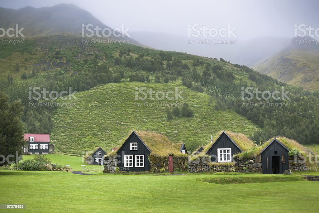Overgrown Typical Rural Icelandic Houses stock photo