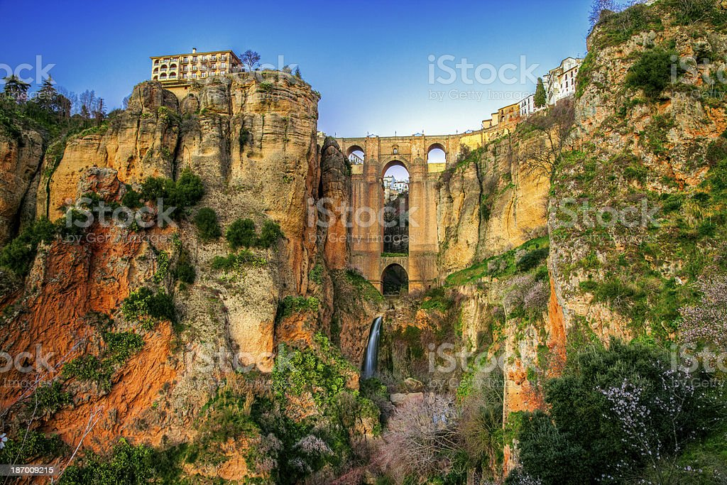 Overgrowth showing on the village of Ronda in Andalusia stock photo