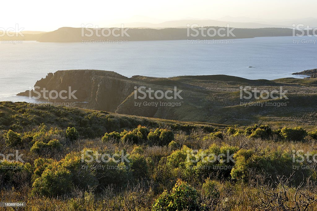 Overhanging cliff, Bruny Island stock photo