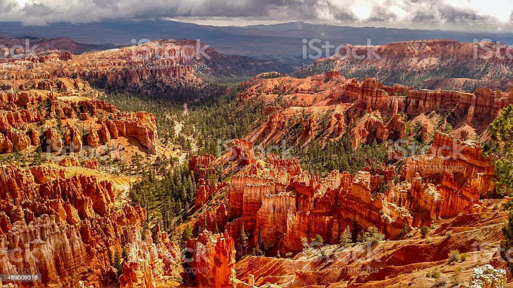 Overhanging clouds over Queens Garden Bryce Canyon National Park Utah stock photo
