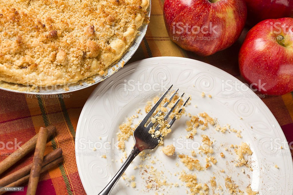 Overhead Abstract of Apple Pie, Empty Plate and Crumbs royalty-free stock photo