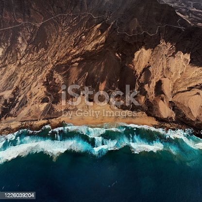 istock Overhead aerial view of desert beach Playa de Barlovento, Jandia Peninsula on Fuerteventura, Canary Islands, Spain 1226039204