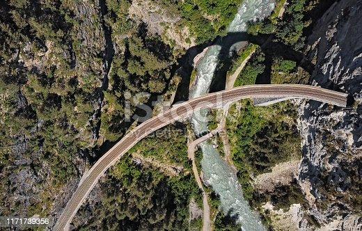 Top aerial panorama of Landwasser Viaduct, Switzerland