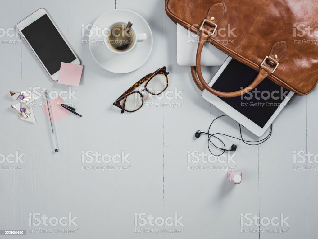 Overhead Business Angles still life of office desk stock photo