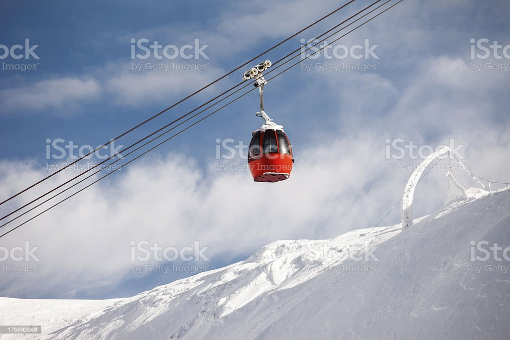 Overhead cable car at  Alps Mountains royalty-free stock photo