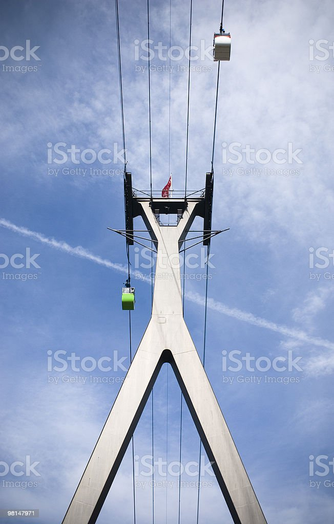 Overhead cable car in Cologne across Rhine river royalty-free stock photo