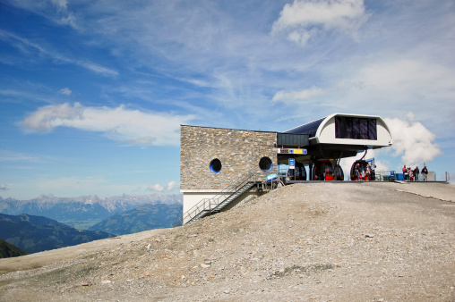 Overhead cable car station on a mountain