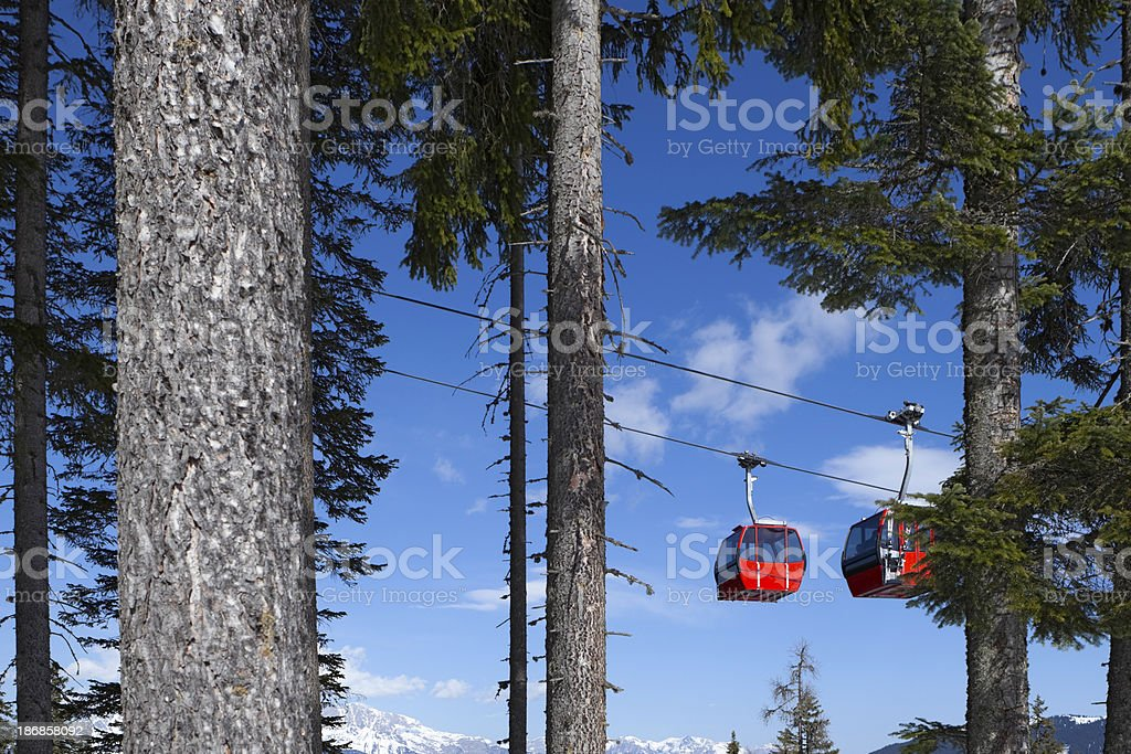 overhead cable cars against a blue sky royalty-free stock photo