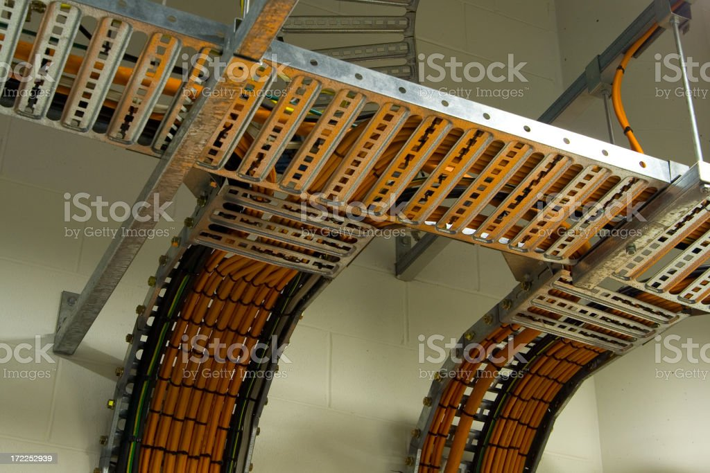 Overhead cable management rack royalty-free stock photo