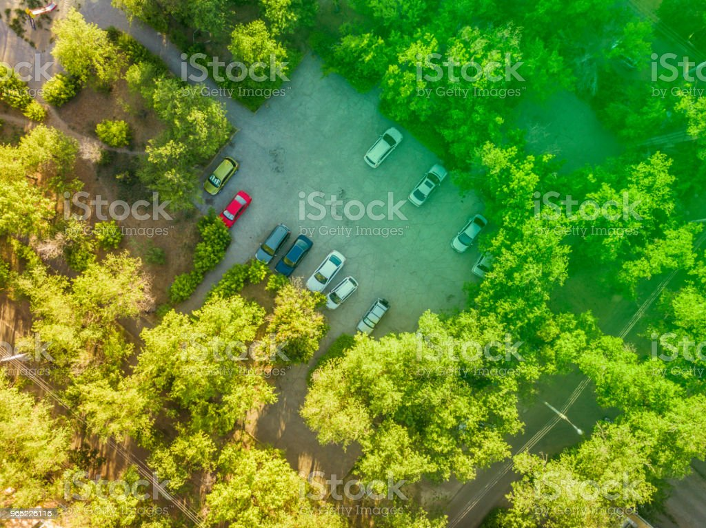 overhead car parking in the yard aerial view royalty-free stock photo