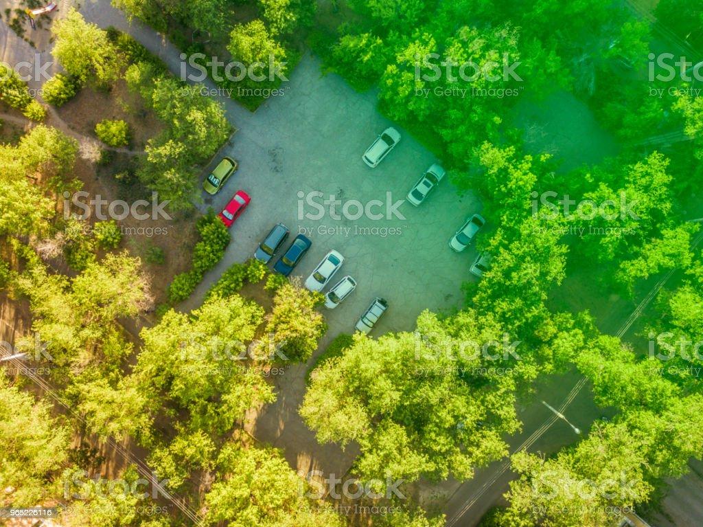 overhead car parking in the yard aerial view zbiór zdjęć royalty-free