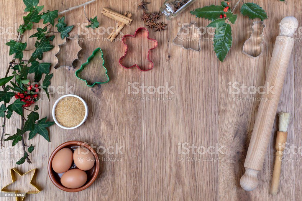 Overhead Christmas Baking with copyspace stock photo