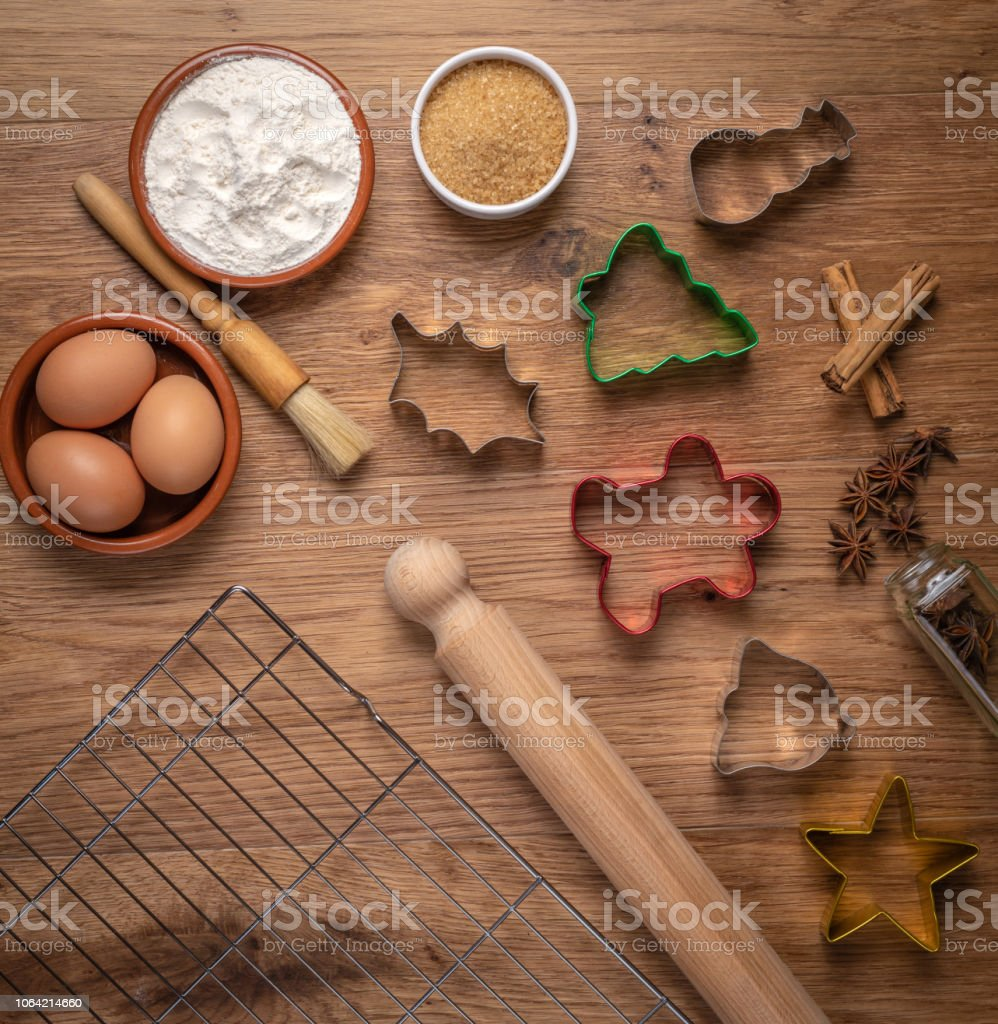 Overhead Christmas Baking with equipment and ingredients stock photo