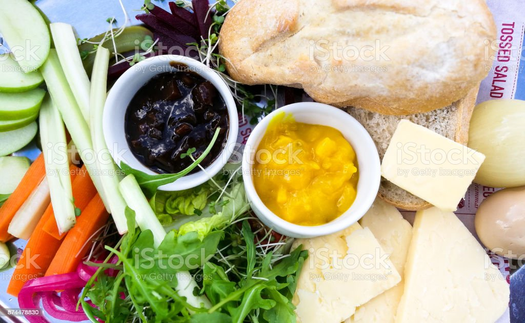 Overhead close up image of fresh healthy salad and ploughman's platter stock photo
