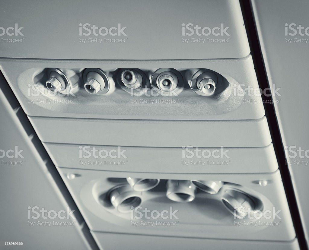 Overhead console in aircraft royalty-free stock photo
