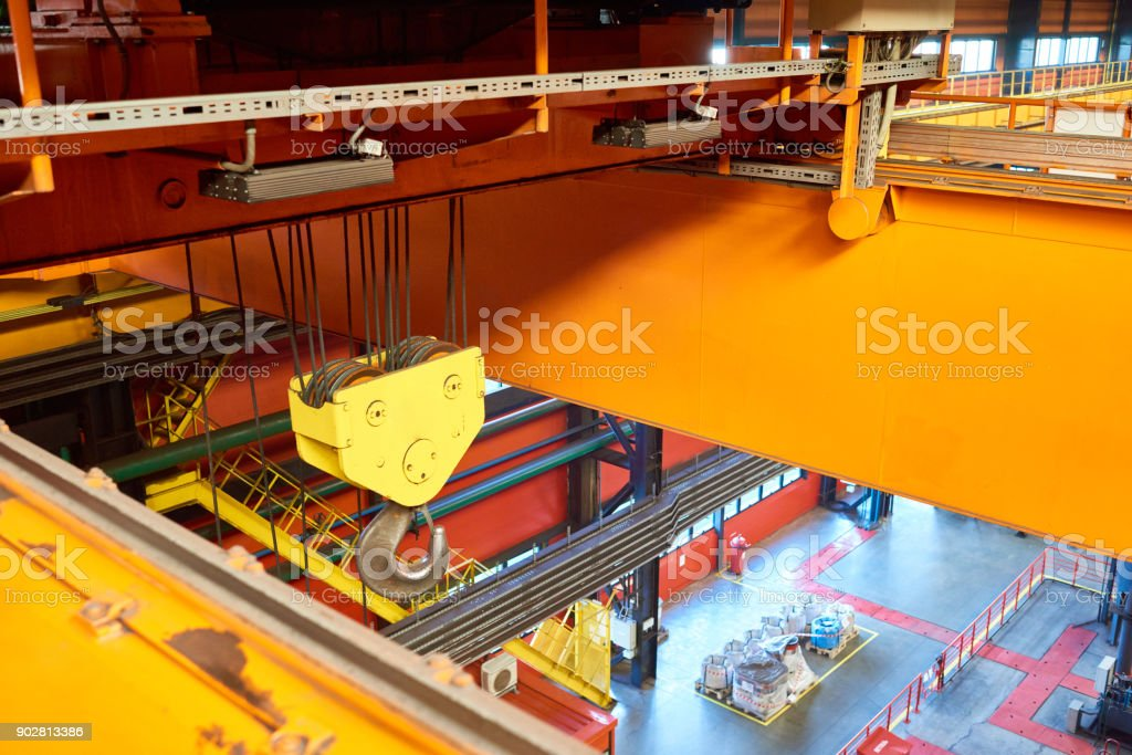 Overhead crane at plant stock photo