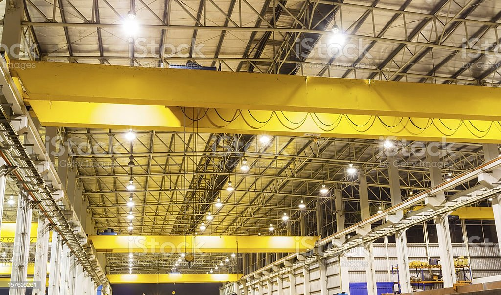 Overhead crane in production line stock photo