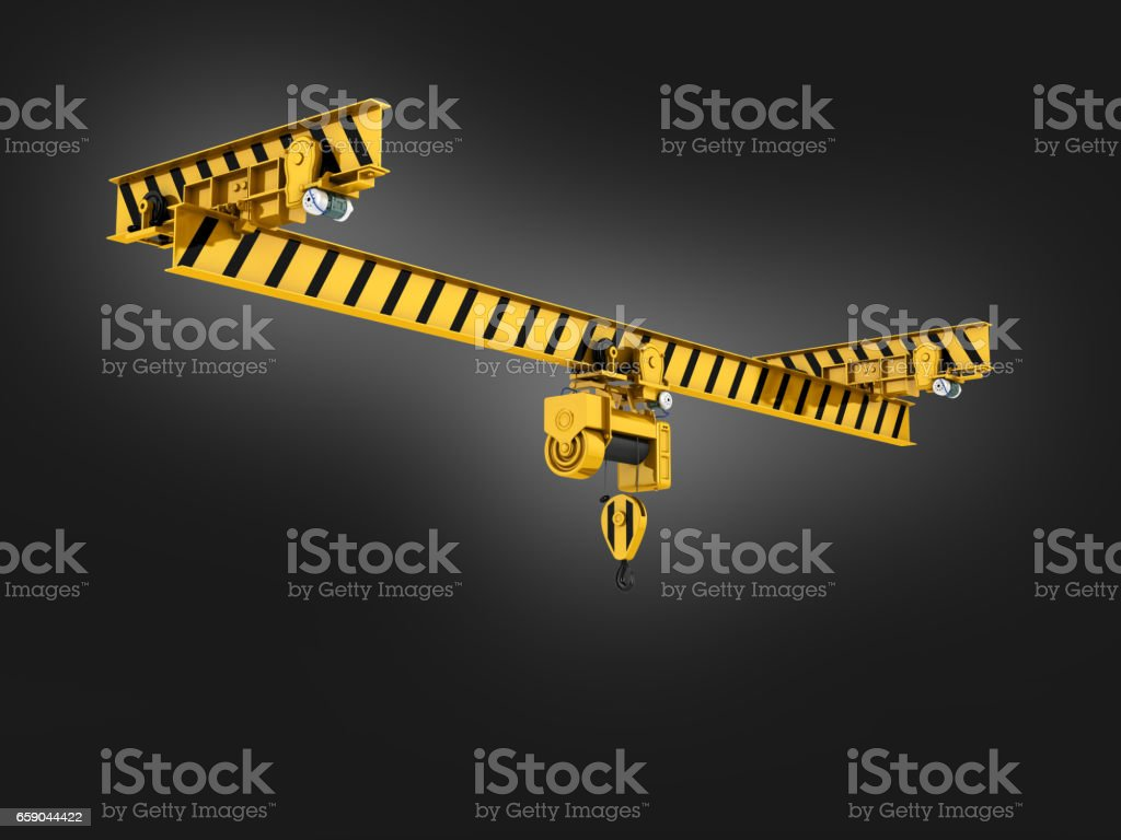 overhead crane on blue gradient background 3d royalty-free stock photo