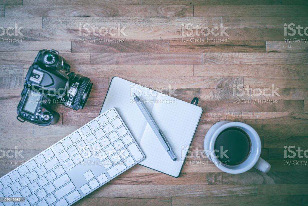 Overhead desk with a cup of coffee stock photo