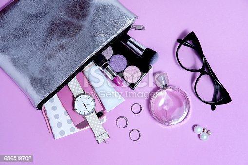 istock Overhead fashion woman essentials close up 686519702