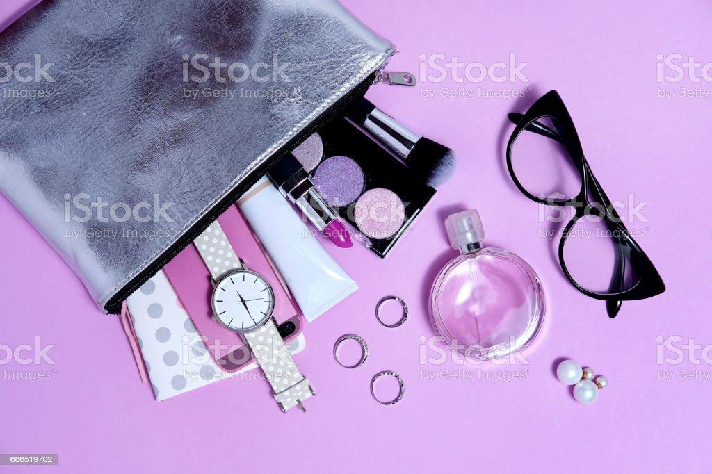 Overhead fashion woman essentials close up stock photo