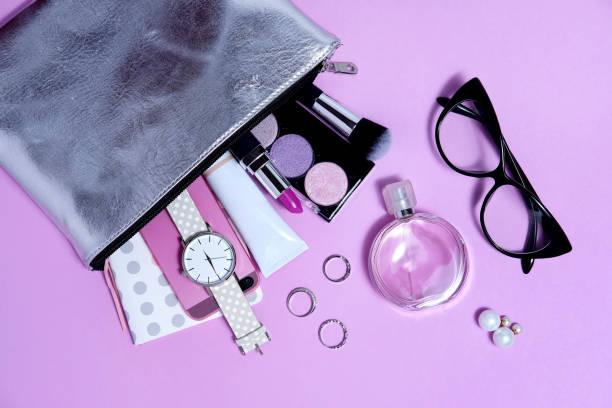 Overhead fashion woman essentials close up - foto stock