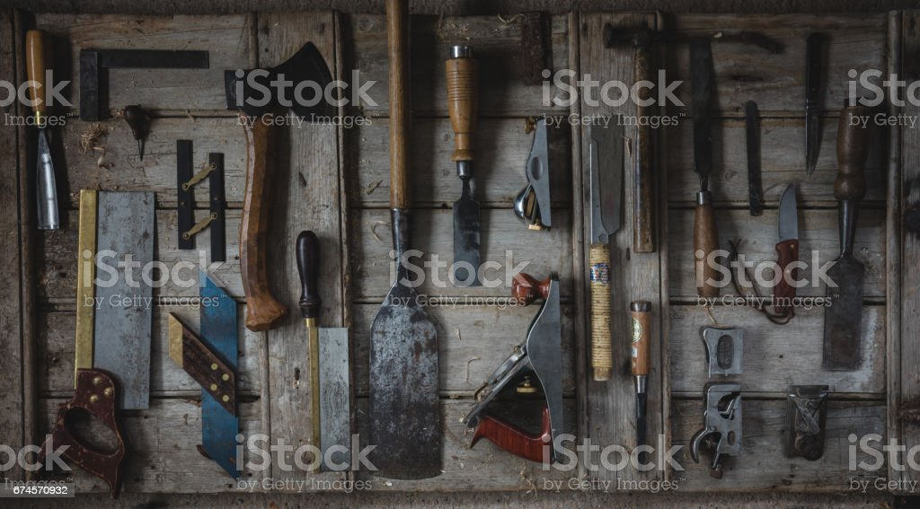 Overhead Flat Lay Image Of Woodworking Tools Stock Photo