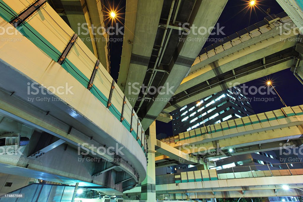 overhead highway in tokyo at night royalty-free stock photo