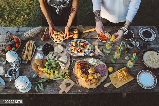Two young women preparing food for picnic day in the countryside. Various foods on an old, rustic, wooden table.