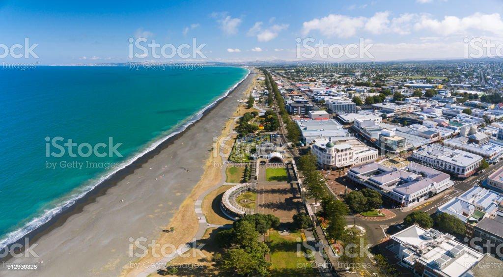 Overhead looking at Napier beach, New Zealand. stock photo