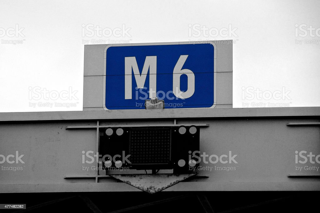 Overhead M6 Motorway Road Sign stock photo